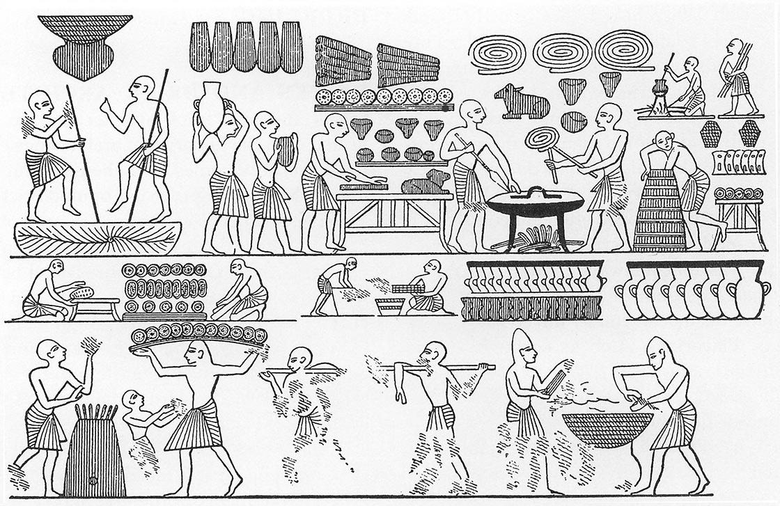Egipcios haciendo pan